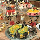 close up shot of fancy cakes at the buffet