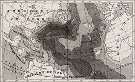 stock photo of mauri  - Old map of Atlantic Ocean depth - JPG