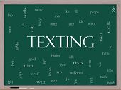 Texting Word Cloud Concept On A Blackboard