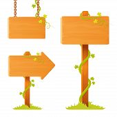 set of illustrations of blank wooden sign board