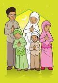foto of fitri  - Indonesian family muslim eid mubarak celebration day - JPG