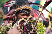 GOROKA, PAPUA, NEW GUINEA - SEPTEMBER 16: colorful portrait of  an aboriginal at Goroka Tribal Festival. Papua New Guinea on September 16, 2011