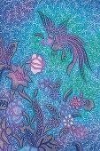 Blue Batik Sarong With Bird