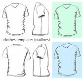 Vector. Men's t-shirt design template v-neck (front, back and side view). Outline