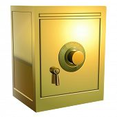 Security gold safe icon, vector illustration.