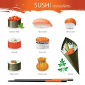 Great set of sushi variations