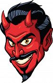 Smiling devil face. Vector illustration. All in a single layer.