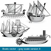 Boats Vector - Gray Scale 2