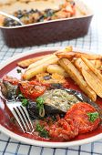 The Greek and Turkish speciality Imam Baildi, eggplant baked in olive oil with onion, tomato, garlic