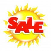 Sun Poster Sale, Isolated On White Background