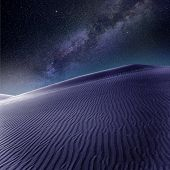 Desert sand dunes in Maspalomas night milky way stars in Gran Canaria photo mount