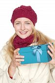 woman get a gift for christmas