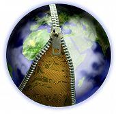 Earth Zip Electronics Isolated