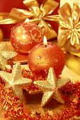 image of christmas bells  - Christmas still life with candles in golden tone - JPG
