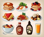 Classic breakfast cartoon set with pancakes, cereal, toasts and waffles
