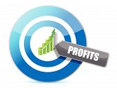 Business target profits graph illustration design over white