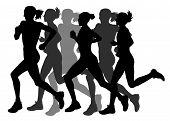 stock photo of olympiade  - Abstract vector illustration of marathon runners silhouettes - JPG