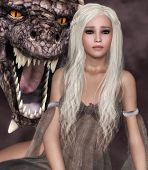 image of dragon head  - Beautiful girl with long white hair and a dragon - JPG