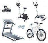 Fitness and sport equipment:  rollers, stationary bicycle, stepper, treadmill, dumbbells, bicycle. I