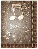 Musik Jeans Textur. Vektor-illustration