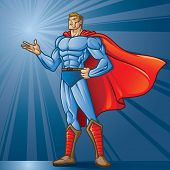 Generic superhero figure standing with open hand.  Layered & easy to edit. See portfolio for similar