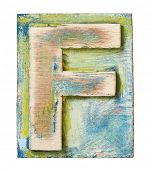 Wooden alphabet block, letter F