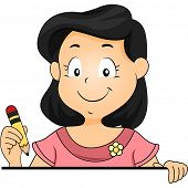 Illustration of a Little Kid Girl holding a Pencil Standing behind a Blank Board