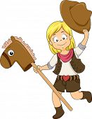 Illustration of a Kid Cowgirl riding a Toy Horse