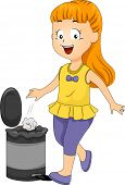 picture of garbage bin  - Illustration of a Female Kid Throwing Garbage in the Trash Bin - JPG