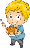 Illustration of Little Kid Boy with a Plate of Pancakes