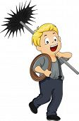 Illustration of a Little Kid Boy Chimney Sweep