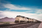 stock photo of locomotive  - Freight train locomotive in Arizona - JPG
