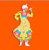 stock photo of rangoli  - illustration of Indian classical dancer performing odissi - JPG