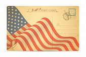 illustration of postcard with American Flag for Independence Day