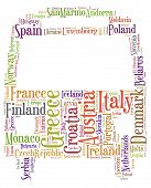 Tag or word cloud Europe traveling related in shape of bus or coach