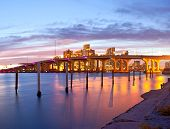 pic of florida-orange  - CIty of Miami Florida summer sunset panorama with colorful illuminated business and residential buildings and bridge on Biscayne Bay - JPG