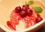 Rice pudding with cherry