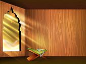 Open Islamic religious holy book Quran SHareef on shiny rays background for month of Ramadan Kareem.