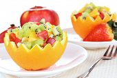 foto of hollow  - Fruit salad in hollowed - JPG