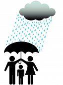 Symbol People Family Safe Under Umbrella Cloud & Rain