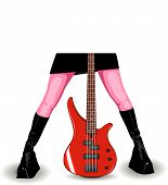 Vector Illustration Of Red Bass Guitar And Female Legs