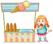 Illustration of a fat girl eating an ice cream beside the ice cream stand on a white background