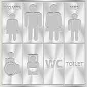 Aluminium Toilet Sign. Men and Women WC plate