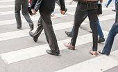 Legs Of Pedestrians In A Crosswalk