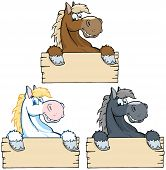 Set of Horses with Wood Sign