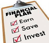 A clipboard with a financial plan and checkboxes beside the words Earn, Save and Invest to illustrat