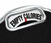The words Empty Calories on the display of a scale to illustrate the importance of eating nutritiona