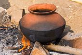 Clay pot with food