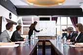 stock photo of presenting  - Business training at office - JPG