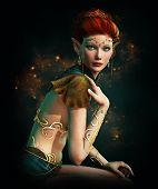 stock photo of pixie  - a elven princess with golden diadem body jewelry and Turquoise gemstones - JPG